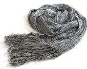 ON SALE StOne Grey..... Eco friendly big scarf for Men or shawl for women in Black and Natural - Luxurious Handmade knitting