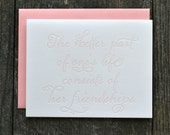 SALE - Letterpress friendship card - pink - single folded card with friendship quote