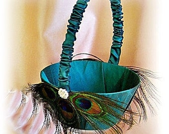 Teal flower girl basket, peacock wedding basket.