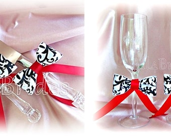 Damask weddings black white and red cake knife set and champagne toasting glasses.