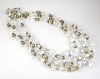 Crystal Glass Multi Strand Bridal Prom Party Necklace Beaded