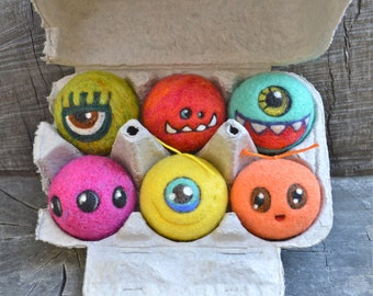 Tiny  WOOLY Aliens in egg carton Ready to Ship