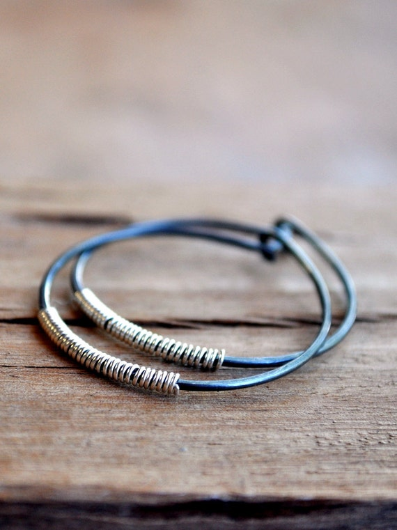 Epheriell #makeforgood Earrings - Oxidised Sterling Silver Handmade Hoops with a Splash of Silver Lining