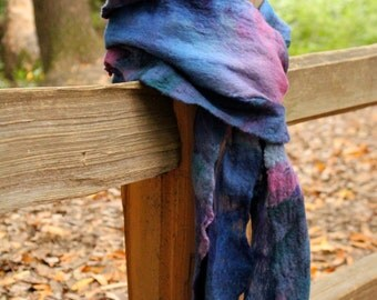 Cobweb Felted Merino Wool on Silk Gauze Nuno Felted Scarf in Blues and Pinks OOAK Gift for Her