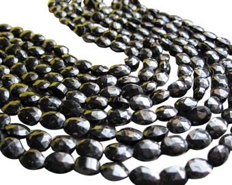 Black Spinel Beads, Faceted Oval, Black Gemstone Beads, SKU 2869