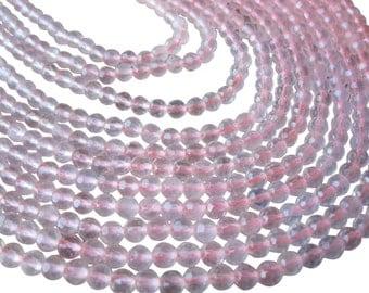 Rose Quartz Beads, Faceted Round, 4mm Faceted Round, SKU 3185