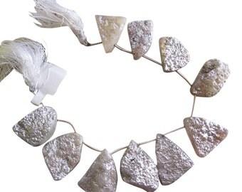 Silver Druzy Beads, Platinum Druzy Quartz, Drusy Beads, Freeform Briolettes, Silver Druzy Quartz Briolettes, SKU 3301