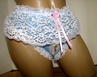 Pretty Sky Blue Classic Bikini with Pretty White Skirt Open Crotch / Crotchless and Size S M L XL Transgender TG VTG