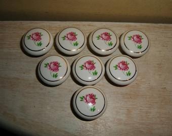 ROSE Porcelain Pulls Knobs Handles cottage chic hardware lot set 8 door drawer vintage