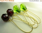 Red green glass earrings... two pairs of jolly earrings ... happy holidays