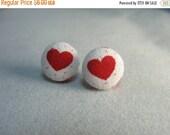 little button stud earrings ... little red hearts