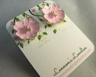 pink enamel flower studs