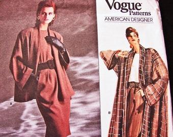 Vintage Vogue Pattern 80s Womens Oversize Swing Coat Shawl Collar, Shell Top, Pleated Skirt Pattern designer Anne Klein size 8 10 12 Uncut