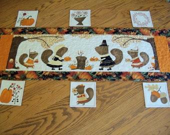 Fall Thanksgiving Table Runner Coaster Set Linens