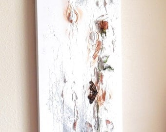 Painting..Original Acrylic Painting..Vague Memory..Natural Floral Mixed Media Painting..Minimal Color White Painting..Unique Painting