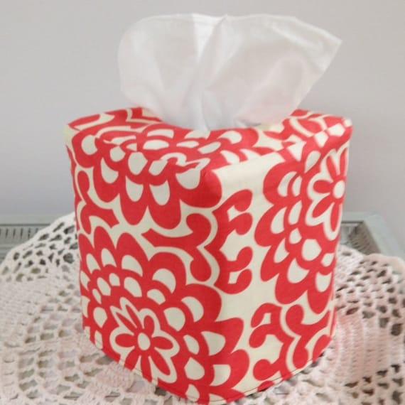 Tissue Box Cover - Reversible Cherry Wallflower