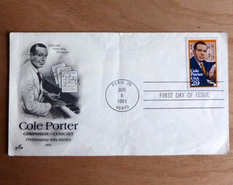 Cole Porter FDC Famous Composer First Day Cover Stamp - 1991 - Peru Indiana First Day of Issue