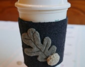 Coffee Cozy  Charcoal w Crocheted Acorn