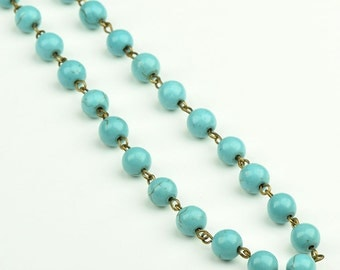 Beaded Rosary Chain Turquoise color, Glass, 3 ft