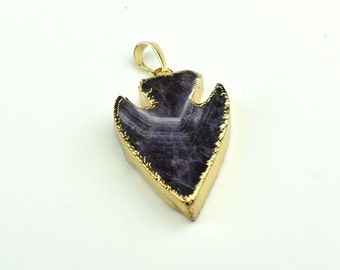 Druzy  Arrowhead  pendant Gold Electroplate Necklace Pendant purple   Natural Stone Jewelry Supplies B4003-1