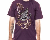 Clearance Sale Phoenix T-shirt, Mens graphic tee, purple t-shirt, Phoenix Rising, Symbolic t-shirt, Art T-shirt, Cool t-shirt