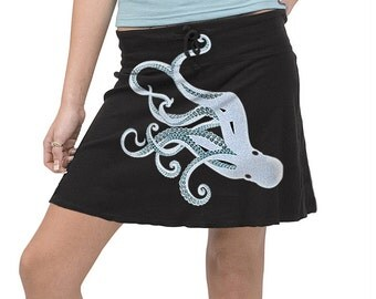 Octopus Skirt, Octopus Silver Blue Print, Black Mini Skirt, Kraken, Steampunk, Festival skirt