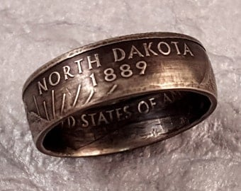 North Dakota Coin Ring YOUR SIZE 5 to 10.5 State Quarter MR0705-TSTND