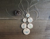 Small Christmas tree ornaments, set of six ceramic gift tags, blue and white Christmas tree and candy cane ornaments