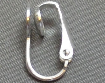 Ear Clip with 7mm Glue On pad Silver Plate (8 pieces)
