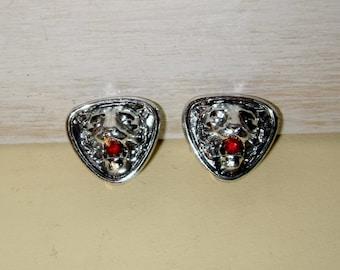 LEO LION CUFFLINKS Vintage shirt jewelry cuff links silver rhodium red crystal