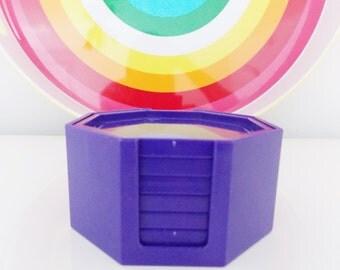 Retro Mod purple melamine Coasters and holder/Mid Century vintage 1970s Octagon shape coasters/ 70s barware