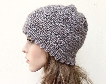 Hand knit hat woman Beanie hat oatmeal wool hat