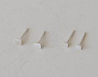Tiny Earrings, Stud Earrings, Silver Earrings, Square Earrings, Earring Set, Second Piercing, Minimal Earrings, 4mm Earrings, 3mm Earrings