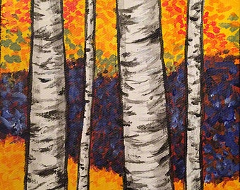 Birch Trees Wall Art, Original Painting, The Berkshires, New England 6x6""