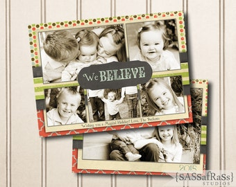 We Believe--Christmas Card Template for Adobe Photoshop, Instant Download, Photographer Template, DIY, Commercial Use