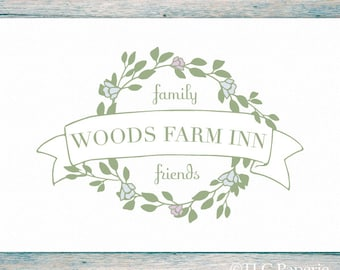 Premade Logo Design, Custom Logo,  Wreath Logo, Soap Logo, Photography Logo, Business Logo, Farm Logo, Watermark, Inn Logo
