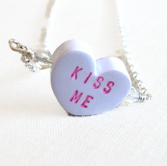 Conversation Heart Necklace in Lavender - KISS ME - Valentine's Day Jewelry