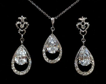 Victorian Wedding Jewelry, Teardrop Bridal Earrings, Cz Drop Necklace, Fleur De Lis Posts, Cubic Zirconia Bridal Jewelry Set, HELENA