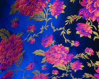 Silk Fabric - Pure Silk Tie Brocade Fabric - Roses on Blue - designer fabric