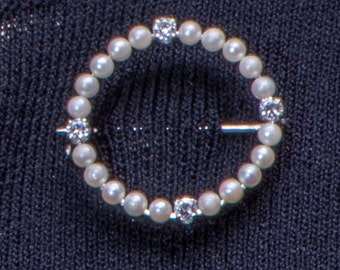 Tiffany Co 14k Pearl & Diamond Circle Brooch - Vintage Japanese Pearls in White Gold