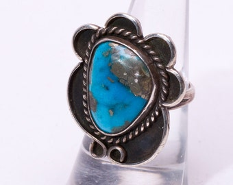Navajo Morenci Turquoise Ring - 60s Pawn - Sterling -  sz 6 1/4