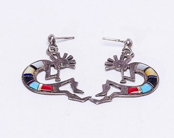 Navajo Inlay Kachina Earrings - Kokopelli - 70s Dead Pawn Sterling Post Dangles