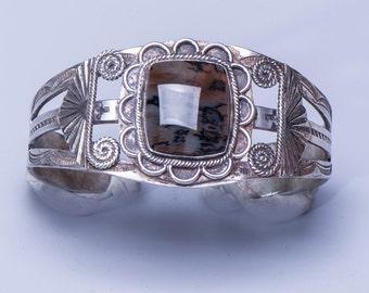 Harvey Era Sterling Petrified Wood Cuff - 40s Bracelet