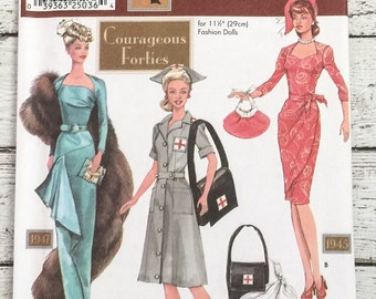 """Simplicity 9773 Doll Collectors Club Doll Clothes 11-1/2"""" Sewing Pattern Corageous Forties Theresa Laquey UNCUT Barbie"""