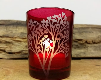 Red 'Tree Of Love' Engraved Glass Votive Holder Wedding Favors
