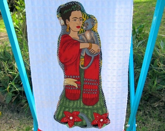FRIDA'S Garden Ruffled Mexican Kitchen TOWEL Frida and Monkey