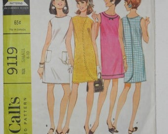 Vintage 60s Wrap Around Dress Pattern McCalls 9119 Size 8 10 Bust 30 31