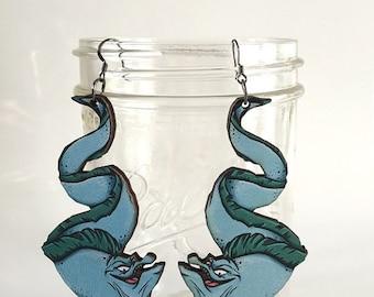 Flotsam and Jetsam - The Little Mermaid - Laser Cut Wood Earrings
