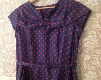 Vintage 50s Silk Wiggle Dress Navy and Red Dot Polka Dot M/L