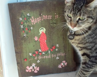 Vintage Happiness Is A Friend For Coffee Key Hook / Wall Hanging